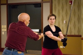 Assisting Fight Master J. Allen Suddeth at the Stage Management Intensive in Stage Combat. Credit: FightGuy Photography